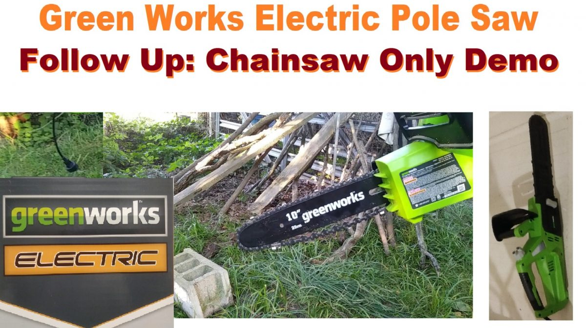 Follow Up GreenWorks 10 inch 6Amp Chainsaw